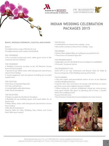 Page 1 INDIAN WEDDING CELEBRATION PACKAGES 2015