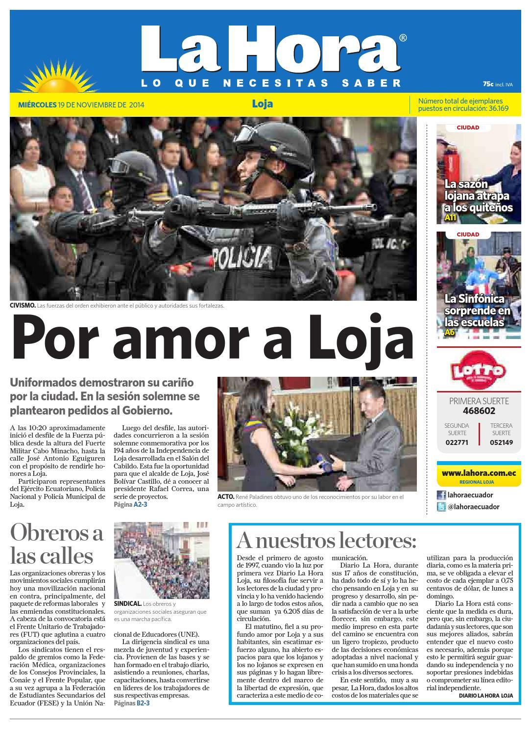 9bc769e4cb01 Diario La Hora Loja 19 de Noviembre 2014