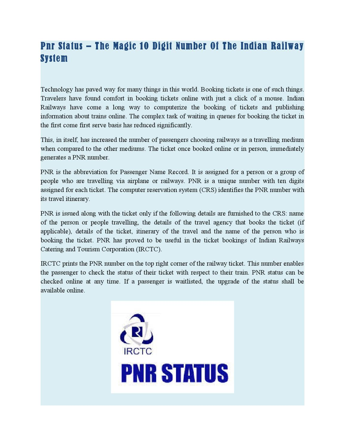 Pnr status – the magic 10 digit number of the indian railway system