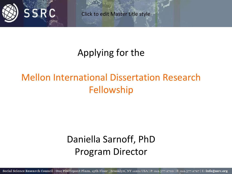 international dissertation field research