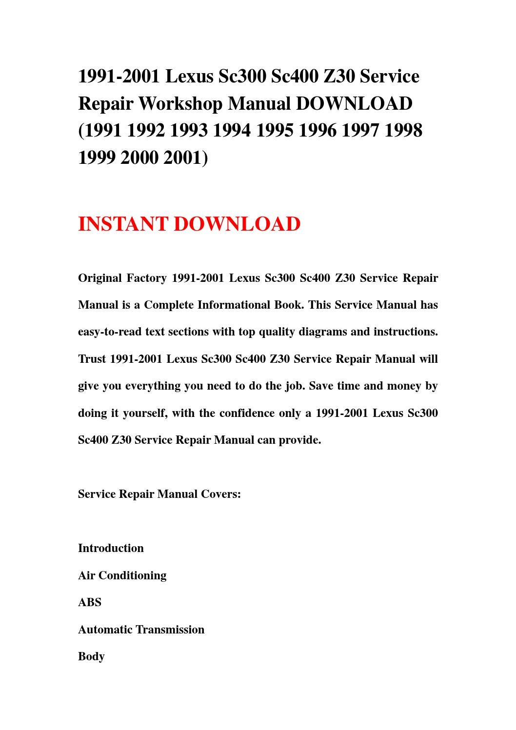 1991 2001 Lexus Sc300 Sc400 Z30 Service Repair Workshop Manual 92 Wiring Diagram Download 1992 1993 1994 1995 19 By Kmjnshenfn Issuu