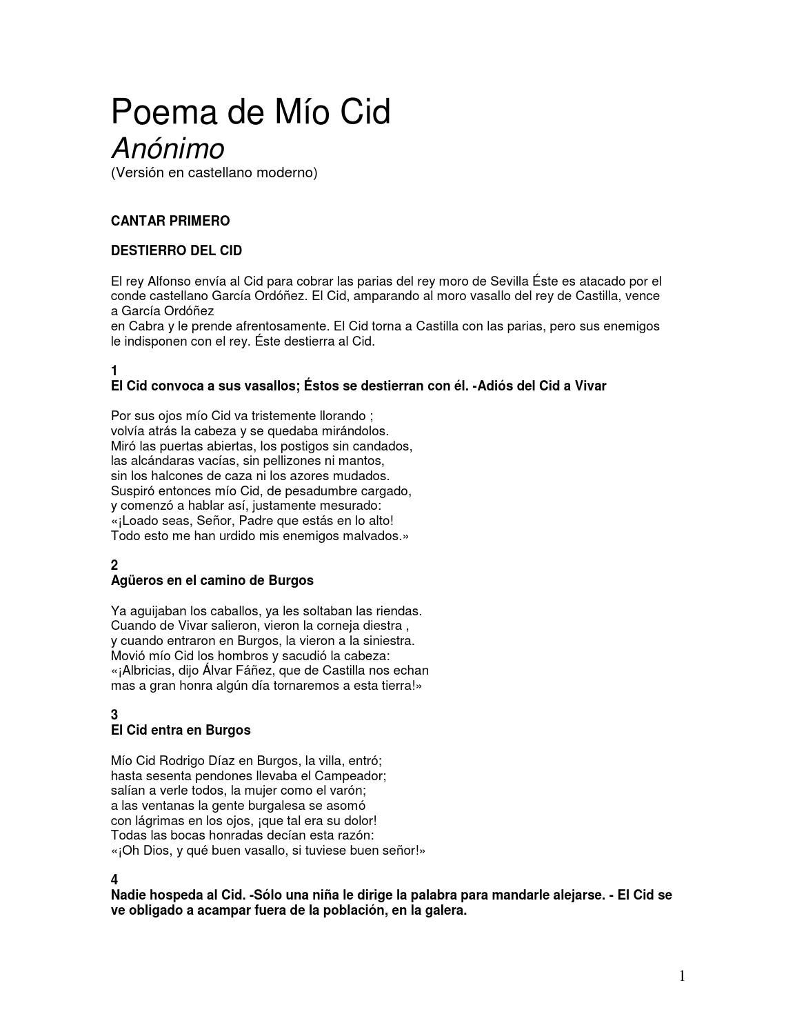 Poema De Mio Cid 1er Cantar By David Steven Barrios Martinez Issuu