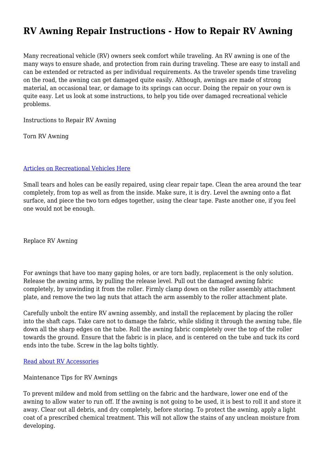 RV Awning Repair Instructions - How to Repair RV Awning by  snottyexpenditu68 - issuu