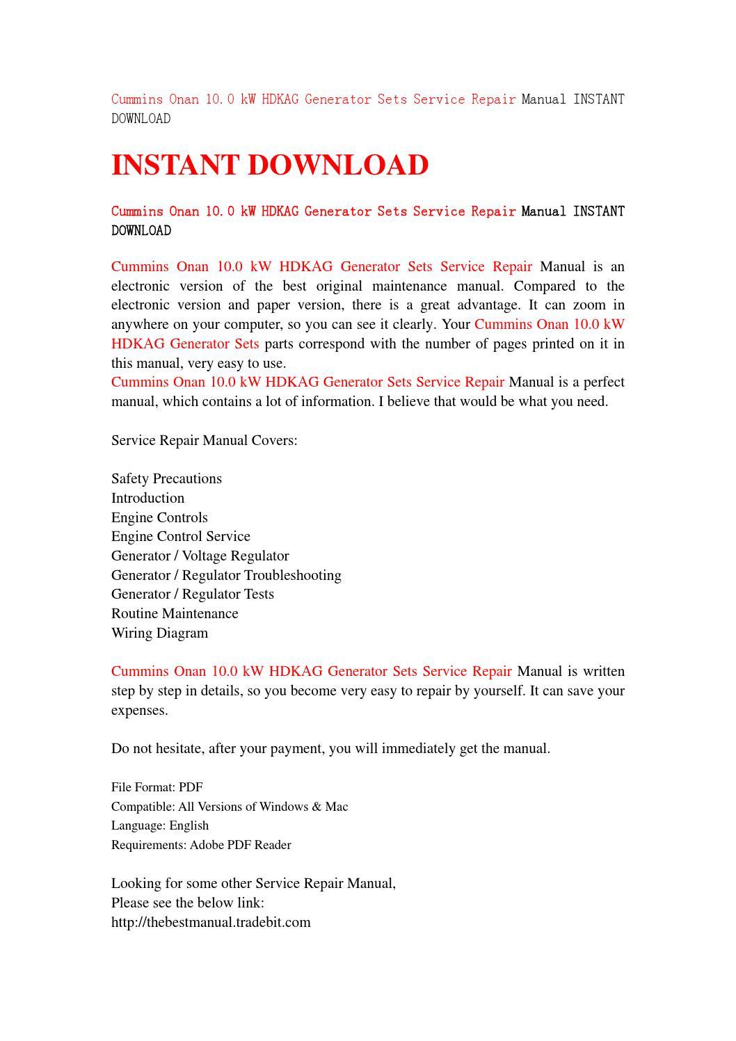Cummins onan 10 0 kw hdkag generator sets service repair manual instant  download by kmsjhefnjn - issuu