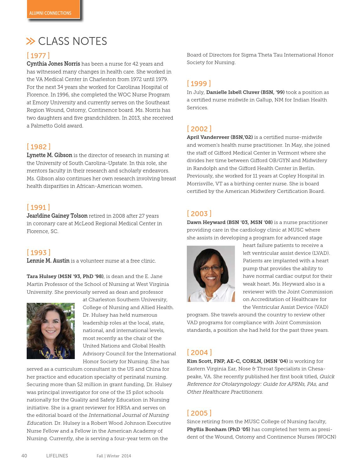 Lifelines Fall Winter 2014 By Musc College Of Nursing Issuu