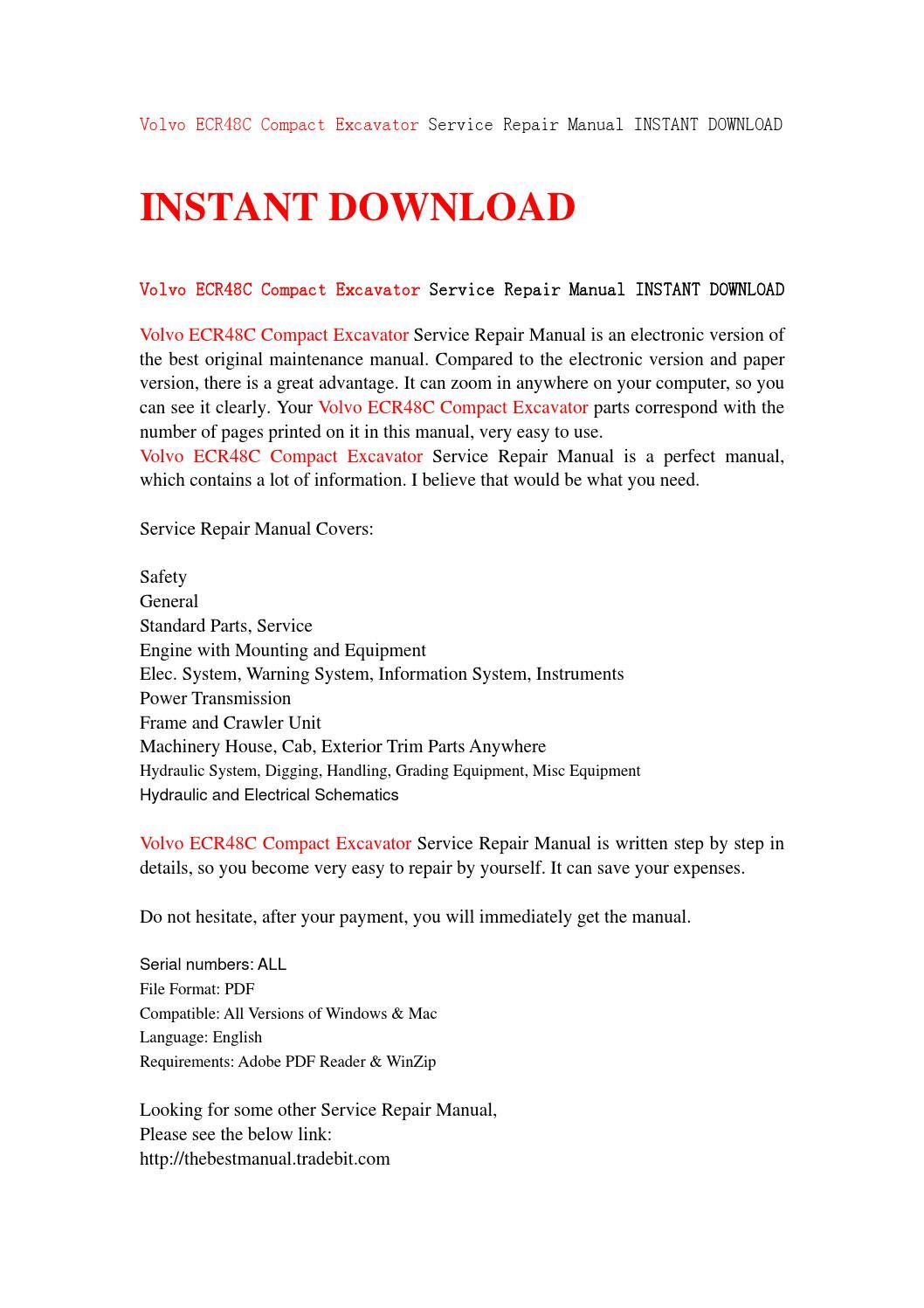 Volvo ecr48c compact excavator service repair manual instant volvo ecr48c compact excavator service repair manual instant download by kmsjhefnjn issuu solutioingenieria Gallery