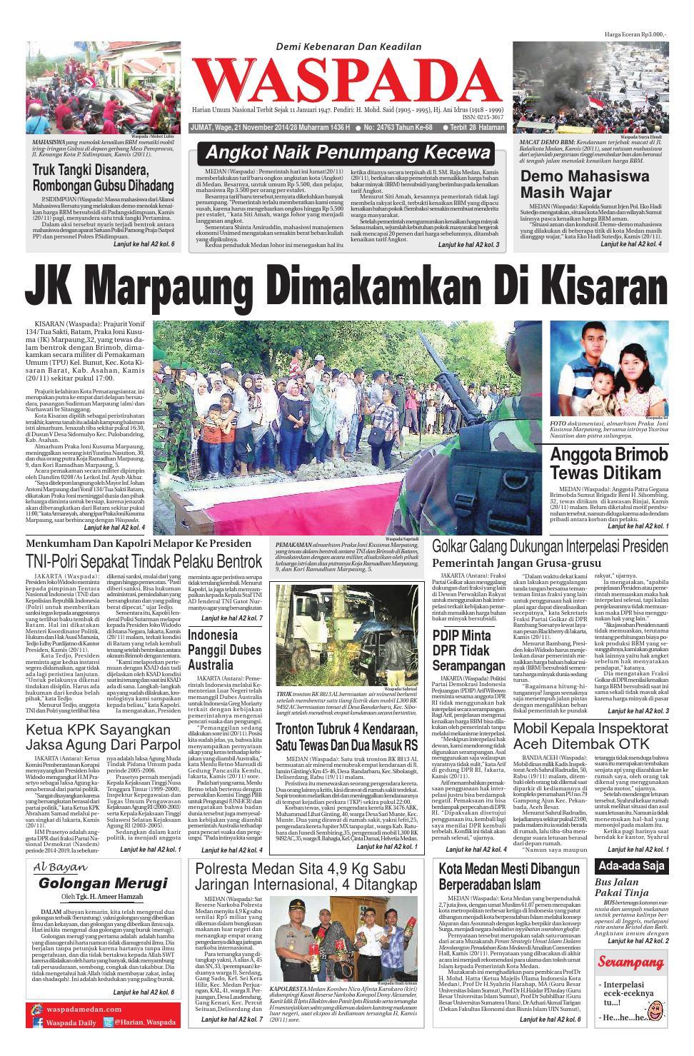 Waspadajumat 21 November 2014 By Harian Waspada Issuu Produk Ukm Bumn Madu Super Az Zikra