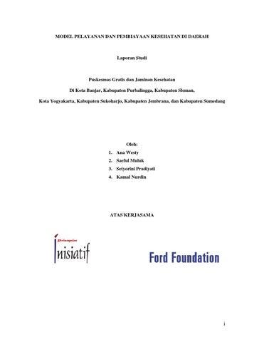 08 Studi Model Pelayanan Dan Pembiayaan Kesehatan Di Daerah