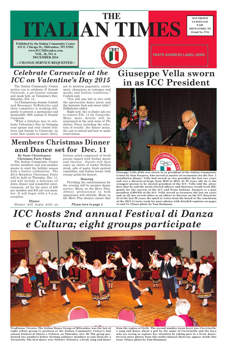 Dec 2014 online by Italian Community Center - issuu