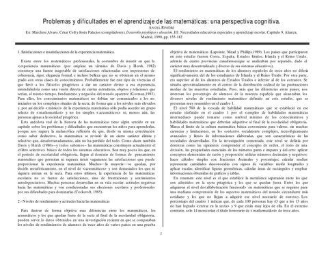 Problemas y Dificultades en el Aprendizaje de las Matemáticas by ...
