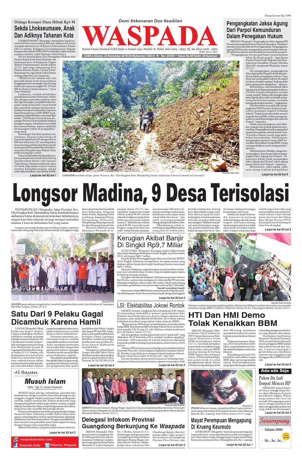 Waspadasabtu 22 November 2014 By Harian Waspada Issuu Produk Ukm Bumn Earring Mas Putih Mutiara Laut