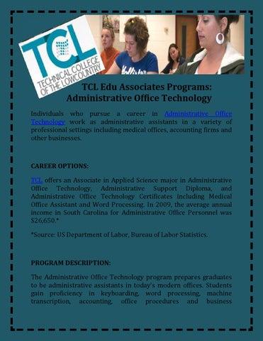 Tcl edu associates programs administrative office technology by