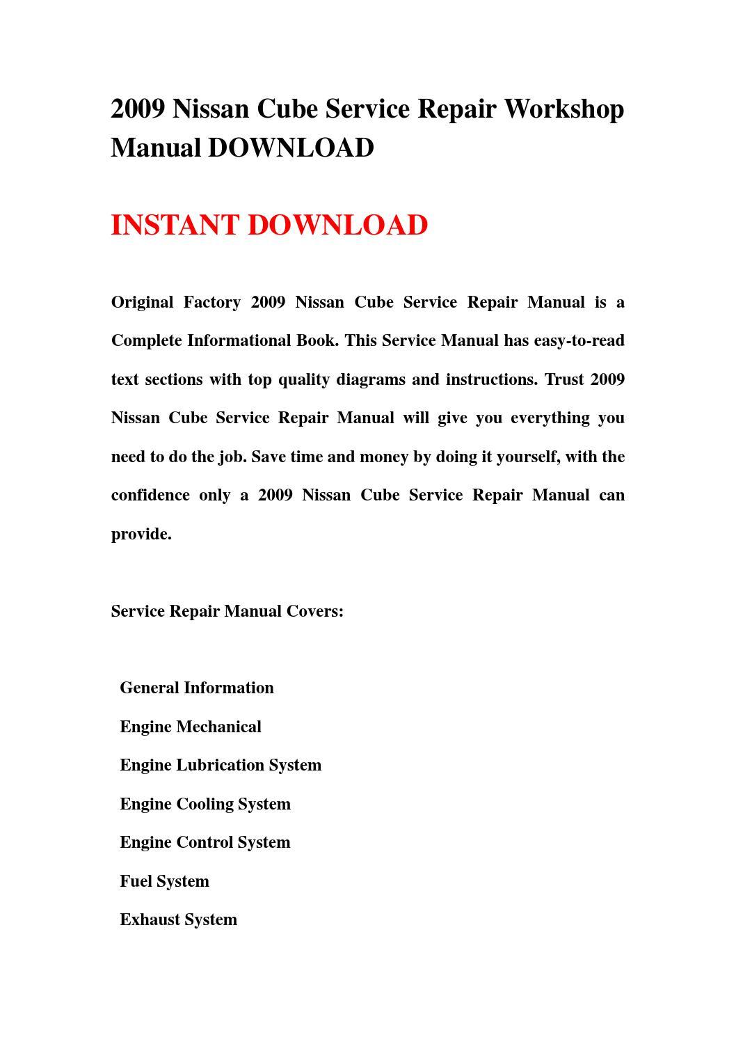 2009 Nissan Cube Service Repair Workshop Manual Download By Engine Diagram Jnhmsefnn Issuu