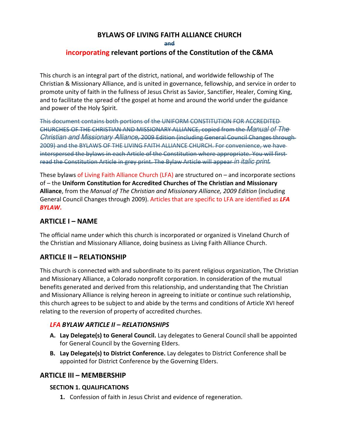 Lfa Bylaws Proposed Revisions 2014 11 13 By Matthew Rudd