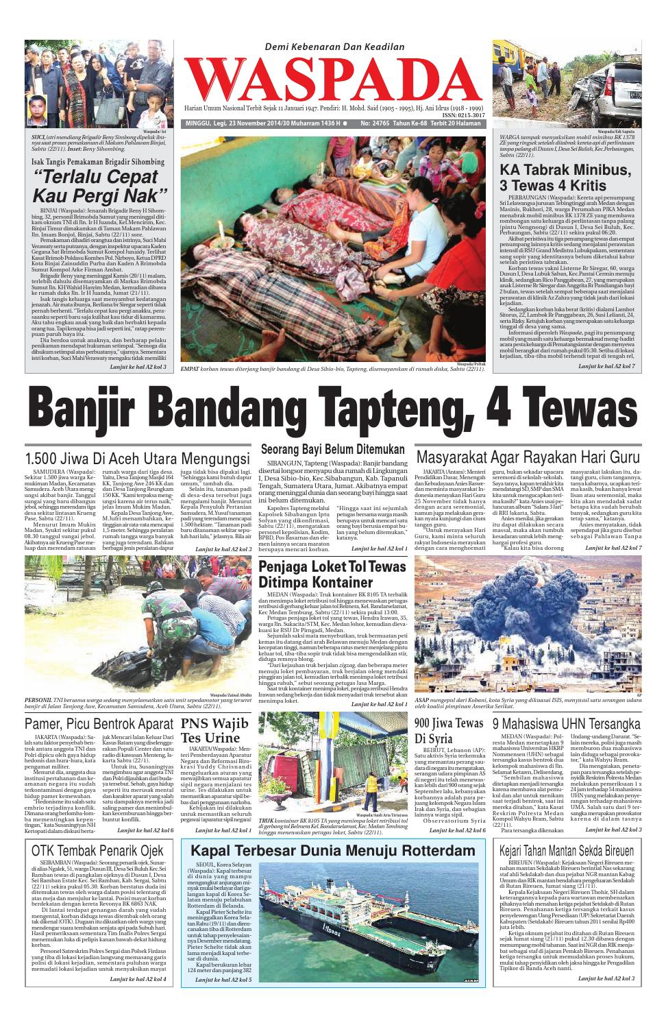 Waspada Minggu 23 November 2014 By Harian Waspada Issuu