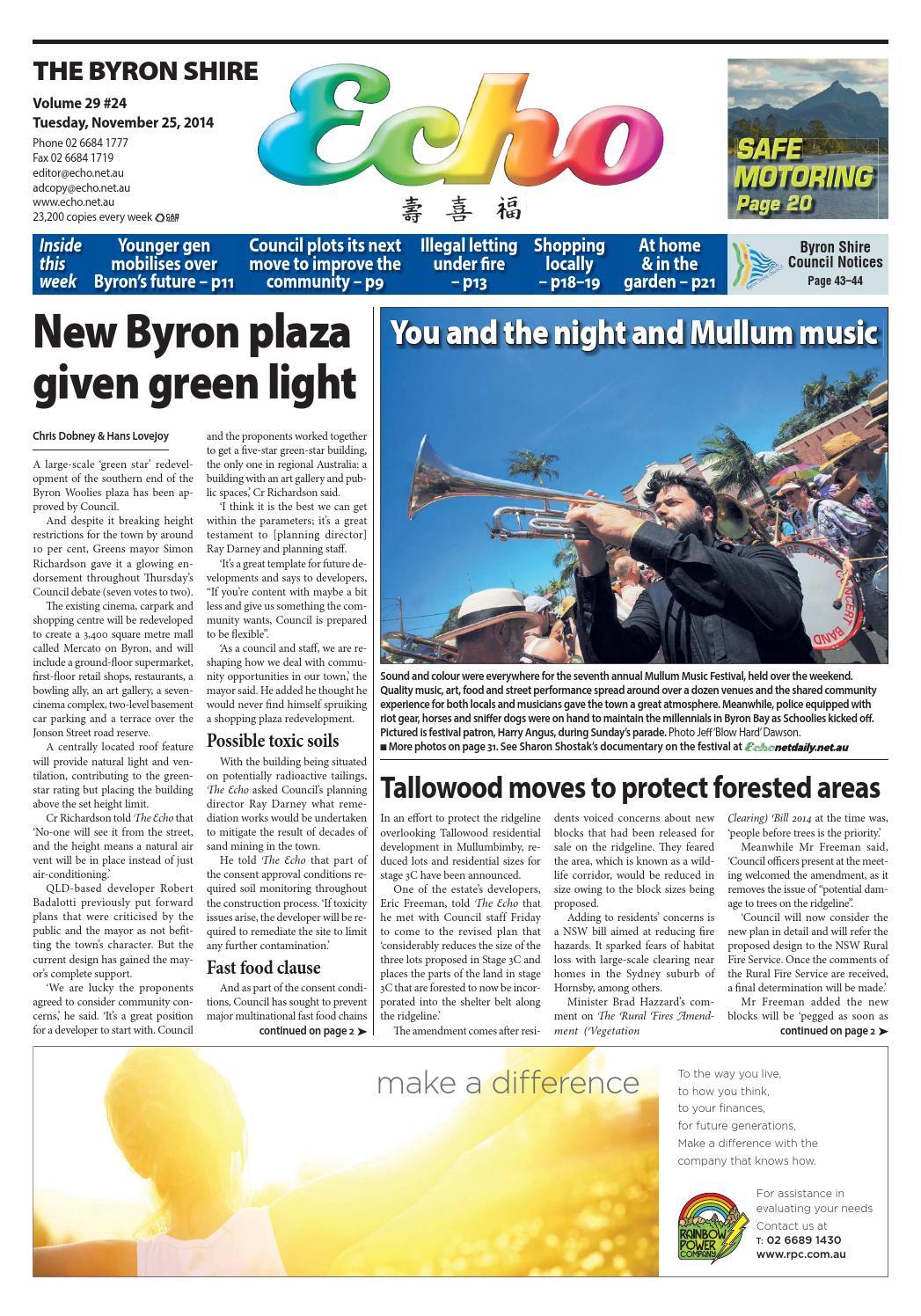 Byron Shire Echo – Issue 29.24 – 25/11/2014 by Echo Publications - issuu