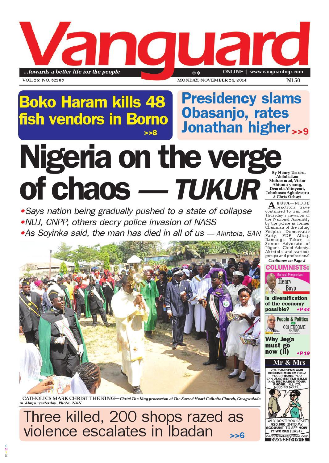 Nigeria on the verge of chaos tukur by Vanguard Media