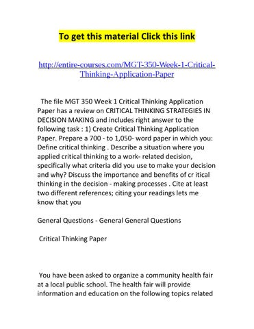 Critical thinking application paper vs