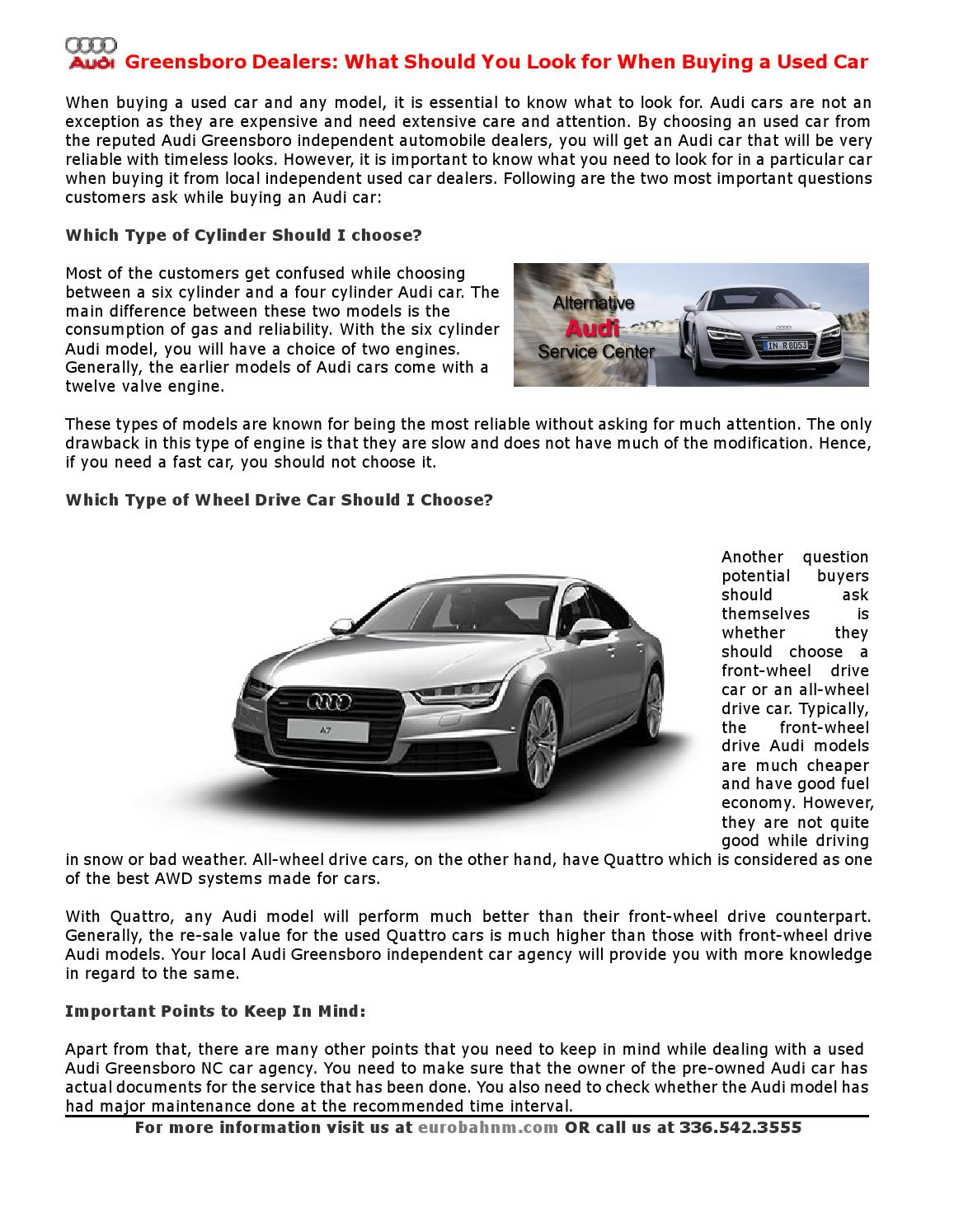 Audi Greensboro Dealers: What Should You Look for When Buying a ...