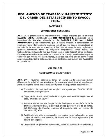 Reglamento interno de trabajo evacol ltda 21 ene 2014 2 Modelo contrato empleada de hogar interna