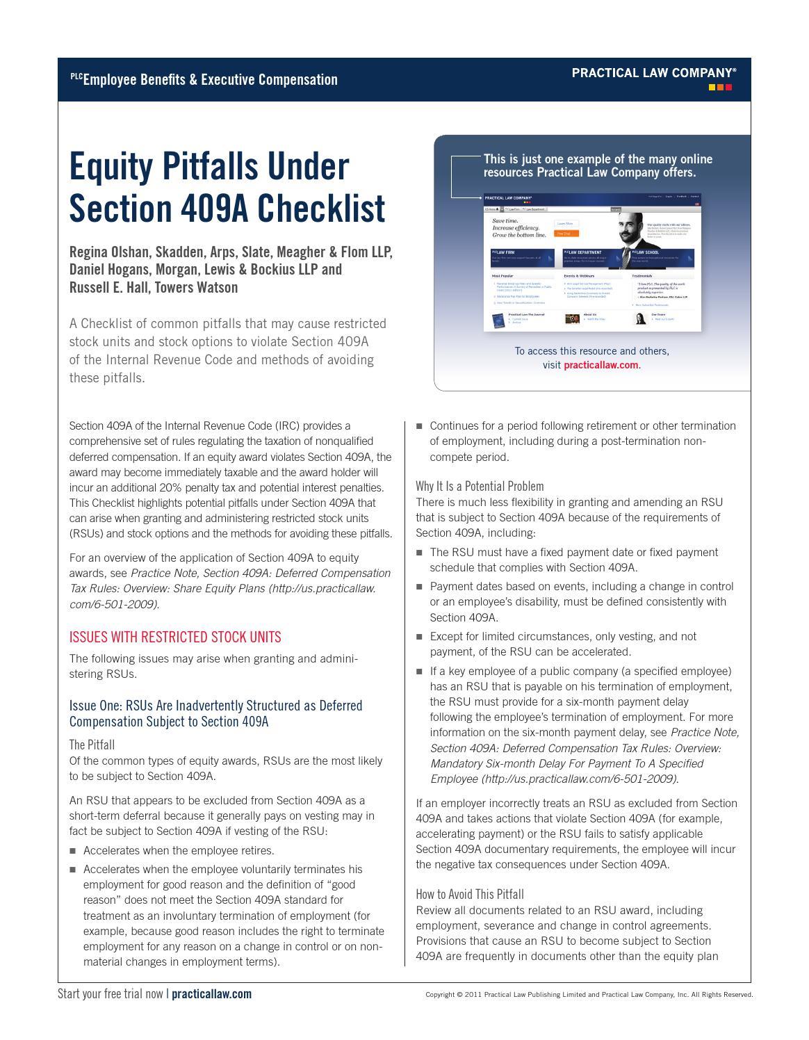 Equity Pitfalls Under Section 409a Checklist   Skadden Law et al  by