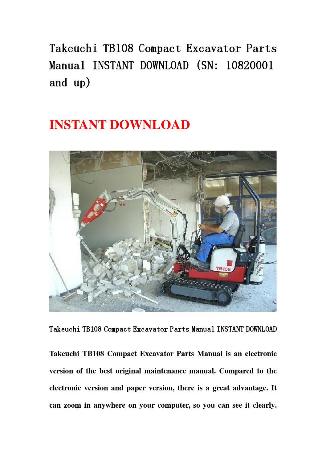 takeuchi tb108 compact excavator parts manual instant. Black Bedroom Furniture Sets. Home Design Ideas