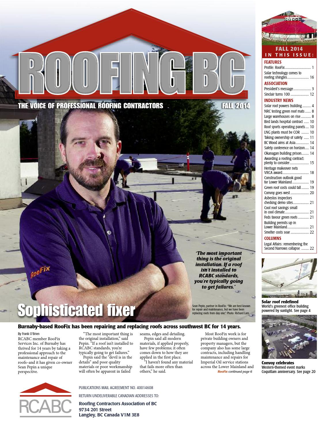 Roofing BC Fall 2014 By RCABC   Issuu