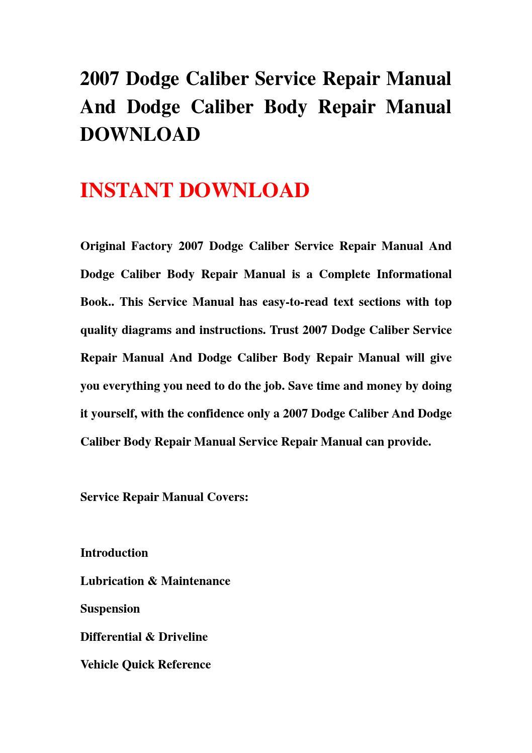 2007 dodge caliber service repair manual and dodge caliber. Black Bedroom Furniture Sets. Home Design Ideas