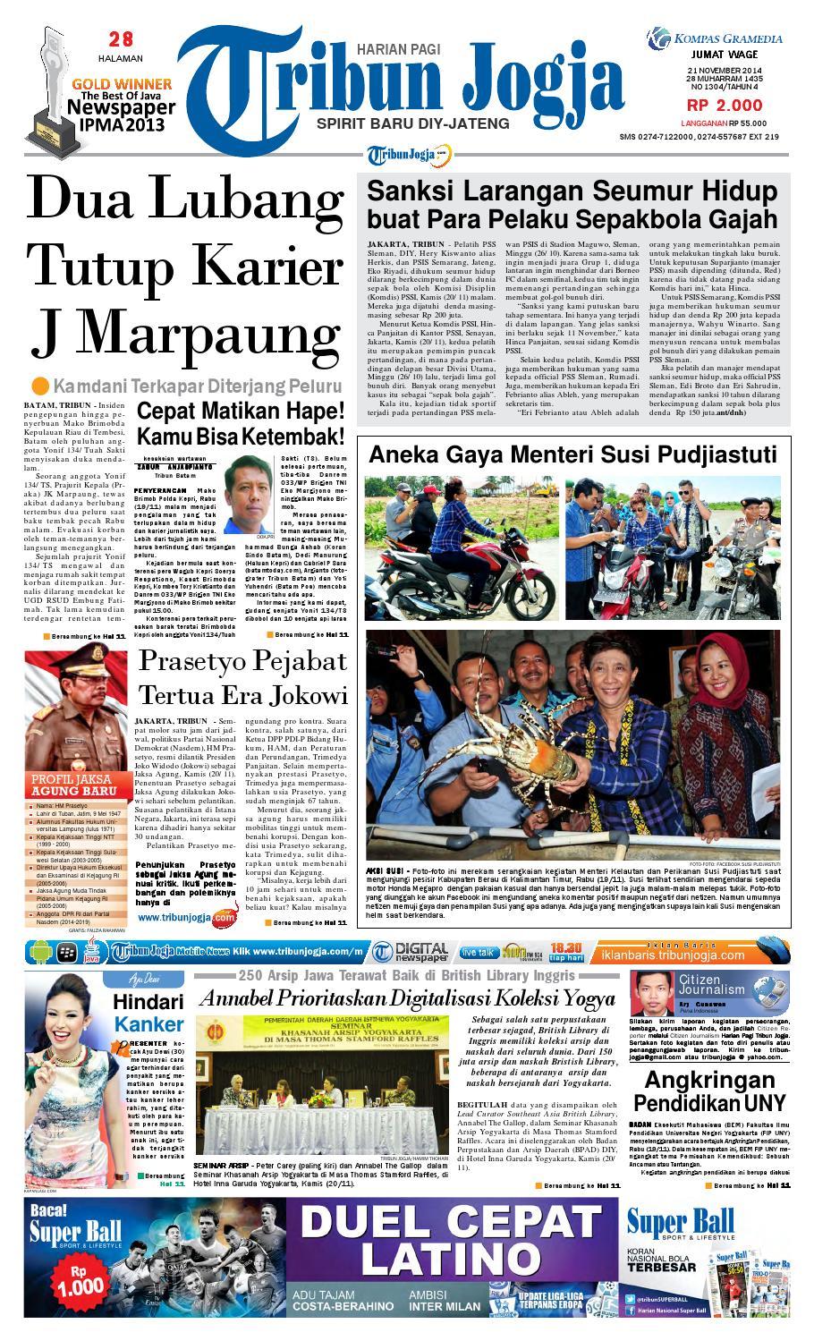 Tribunjogja 21 11 2014 By Tribun Jogja Issuu Krezi Kamis 17 Bantal Leher Bulu C House