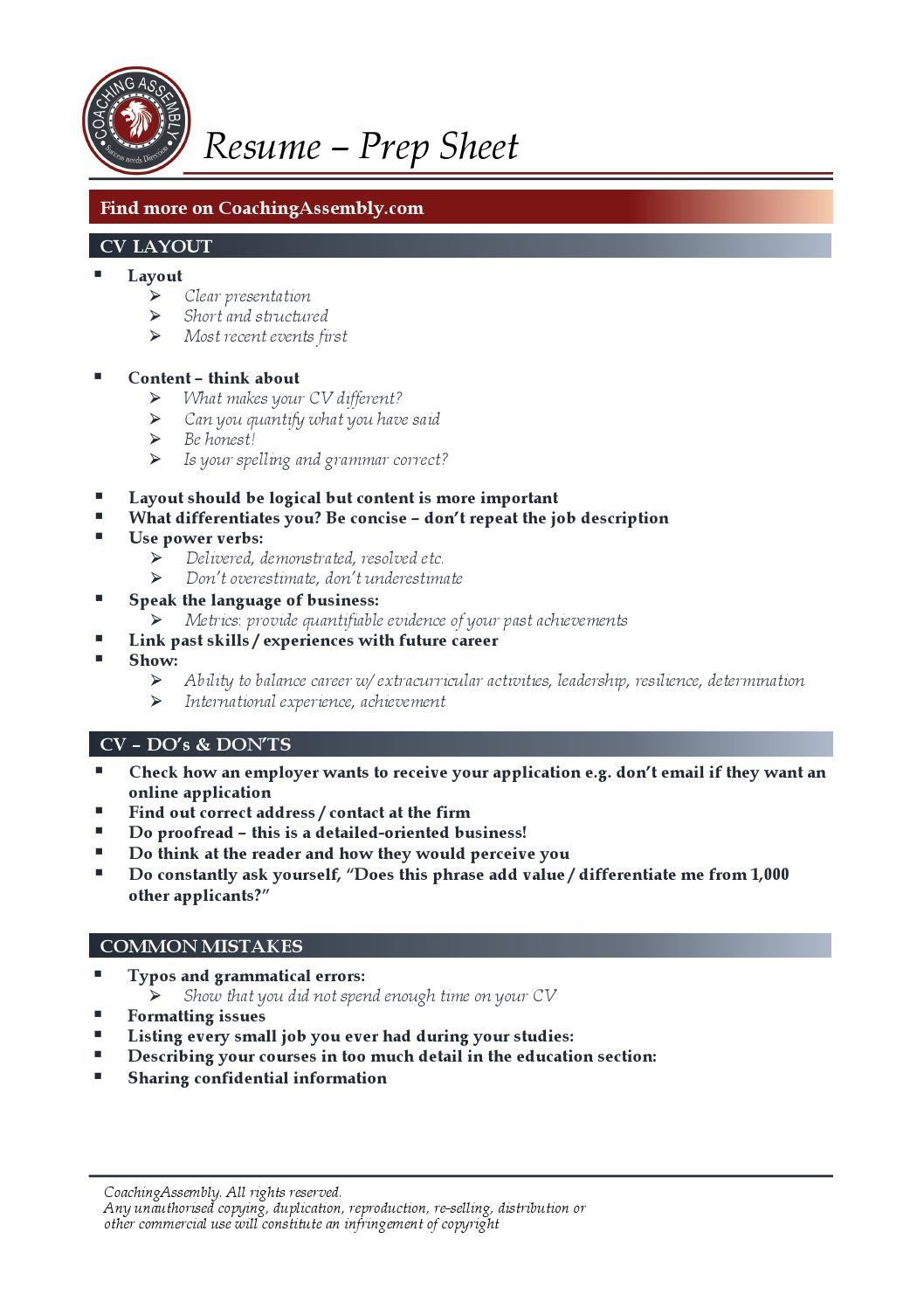 resume cv template coaching assembly resume preparation sheet