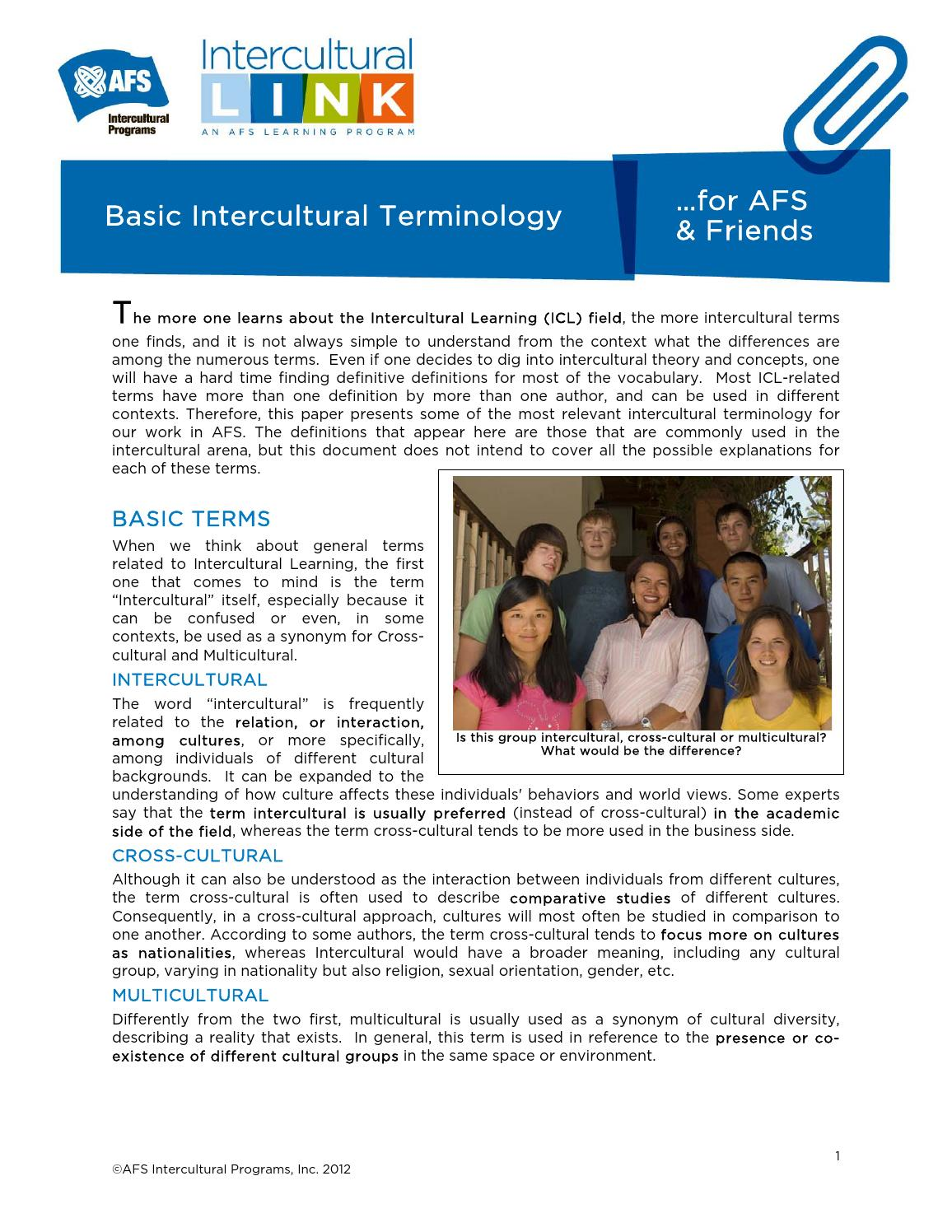 ICL Terminology for AFS & Friends by AFS Intercultural