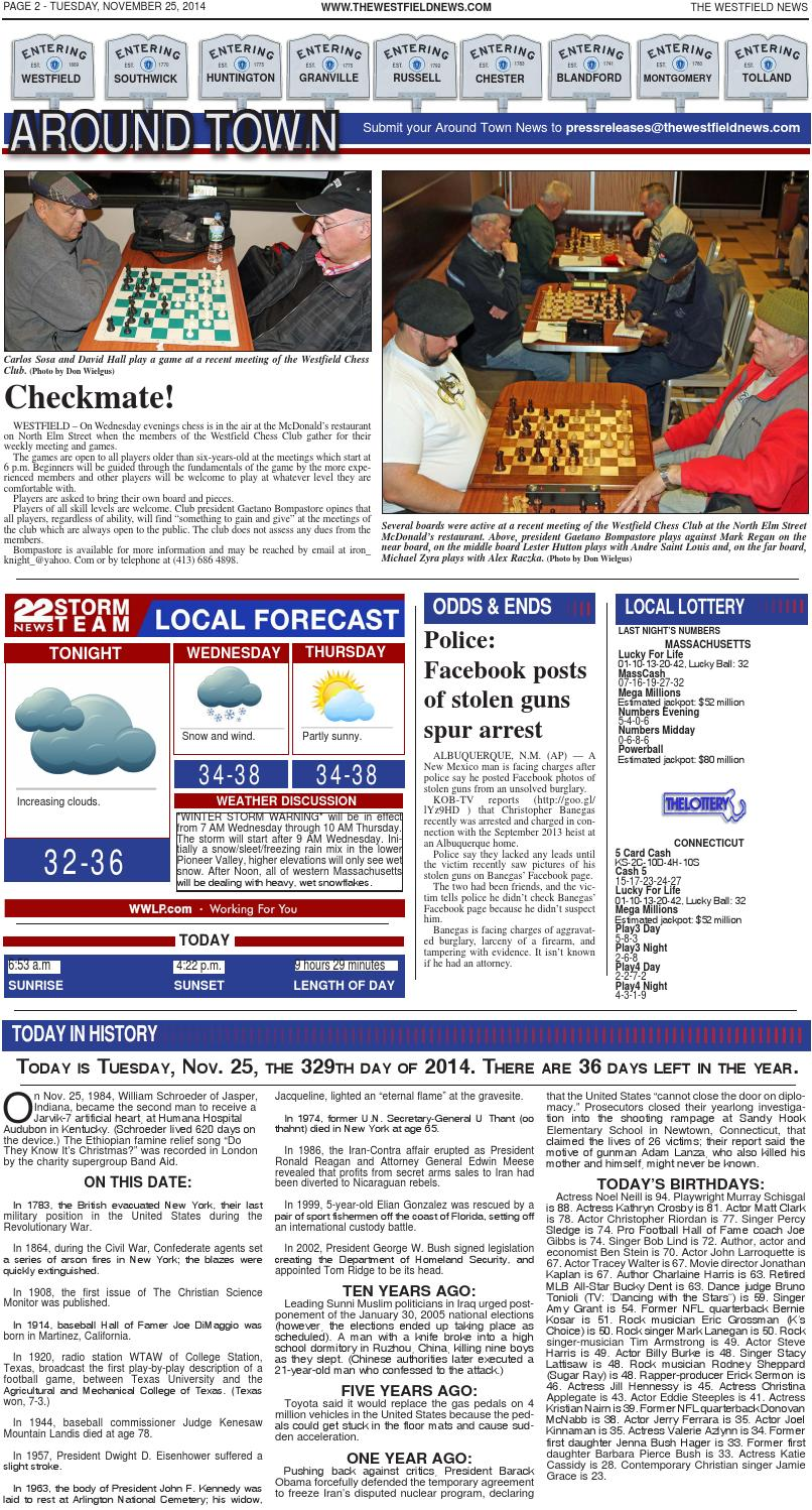 Tuesday, November 25, 2014 by The Westfield News - issuu