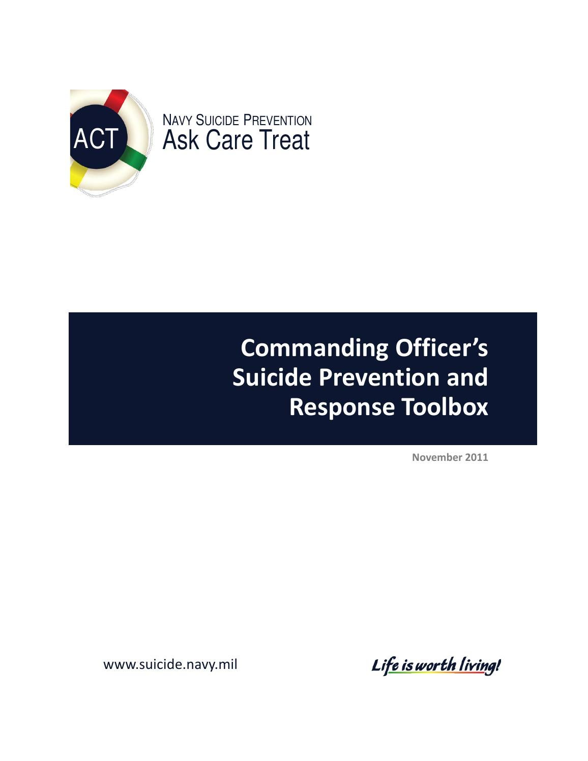 Commanding Officers Suicide Prevention and Response Toolbox 2011 – Navy Financial Planning Worksheet