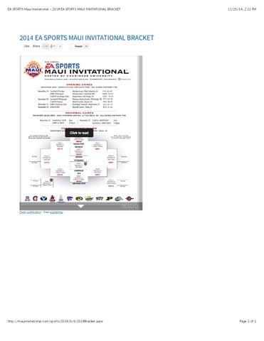 Ea sports maui invitational 2014 ea sports maui invitational bracket