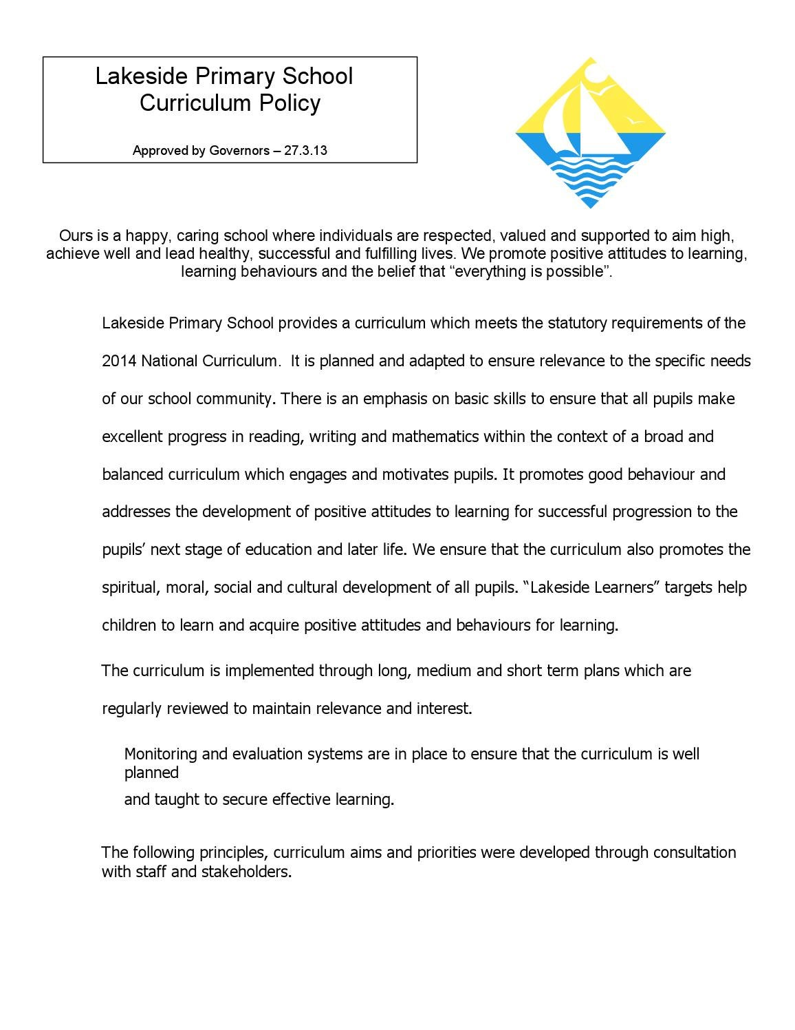 Curriculum Policy Rev Nov 2014 By Lakeside Primary Issuu
