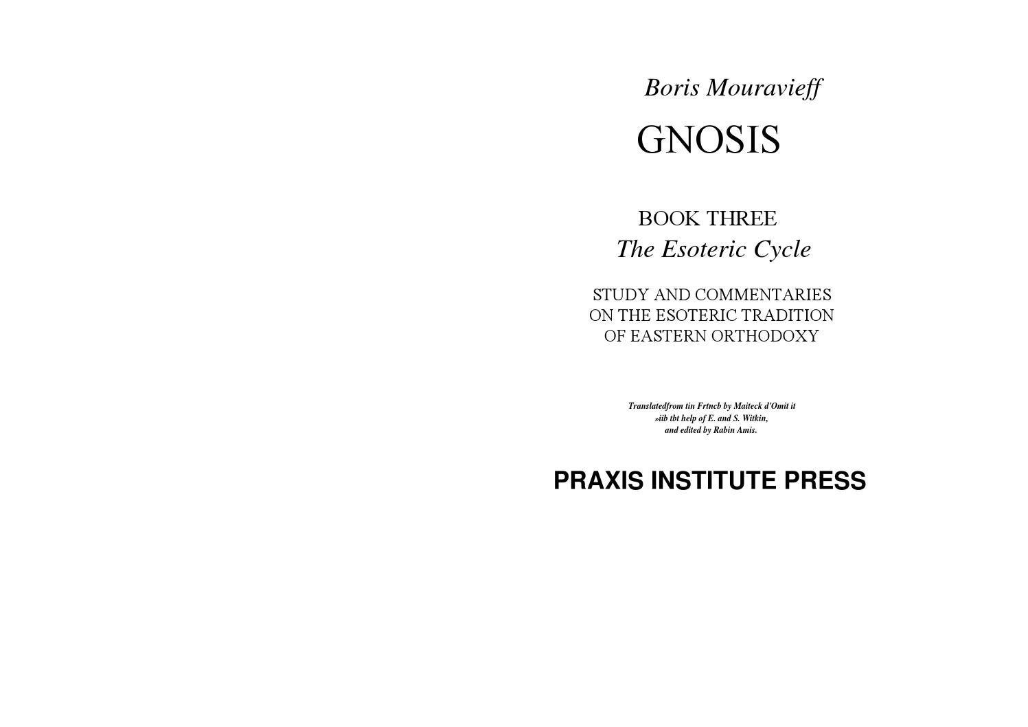 Gnosis Book 3 The Esoteric Ycle By Boris Mouravieff Deconstructing Consciousness