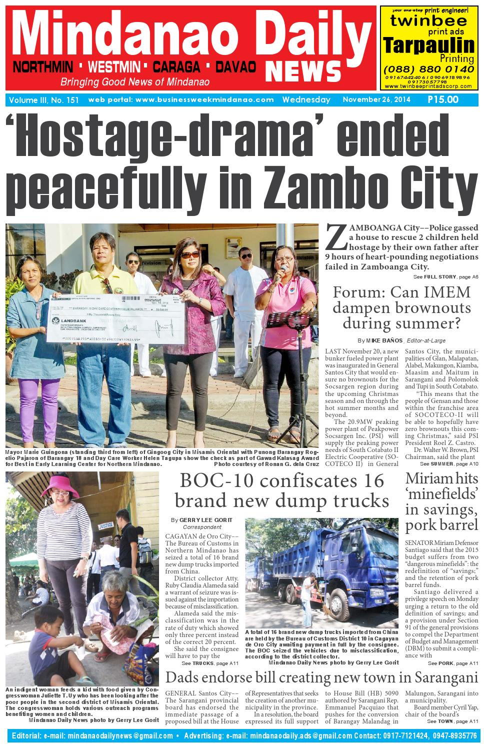 Mindanao Daily Westmin (November 26, 2014) by Mindanao Daily News