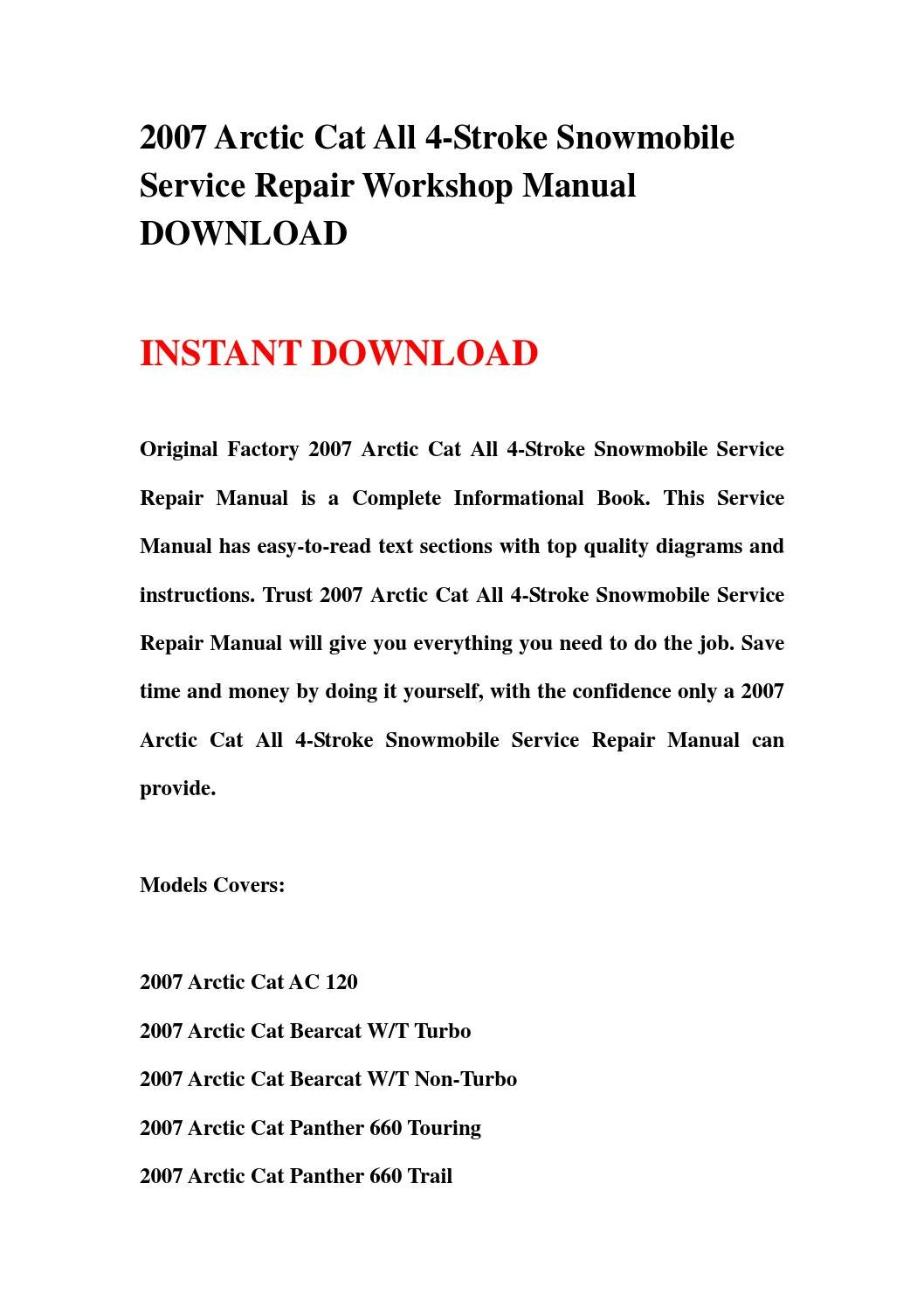 [DIAGRAM_3ER]  2007 arctic cat all 4 stroke snowmobile service repair workshop manual  download by kskfhnmm - issuu | Arctic Cat Snowmobile 4 Stroke Wiring Diagrams |  | Issuu