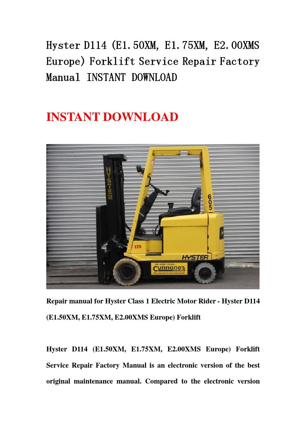 Hyster D114  E1 50xm  E1 75xm  E2 00xms Europe  Forklift