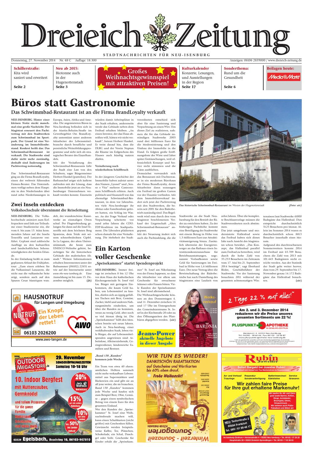 Dz online 048 14 c by dreieich zeitung offenbach journal for Schwimmbad neu isenburg