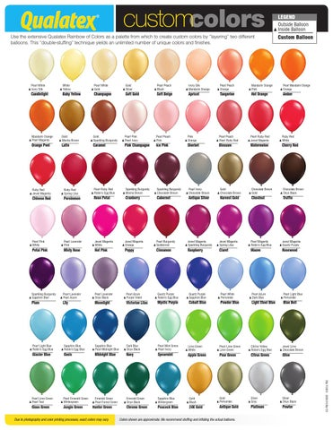 Us Custom Colors Chart 2015 By Pioneer Balloon Company Issuu