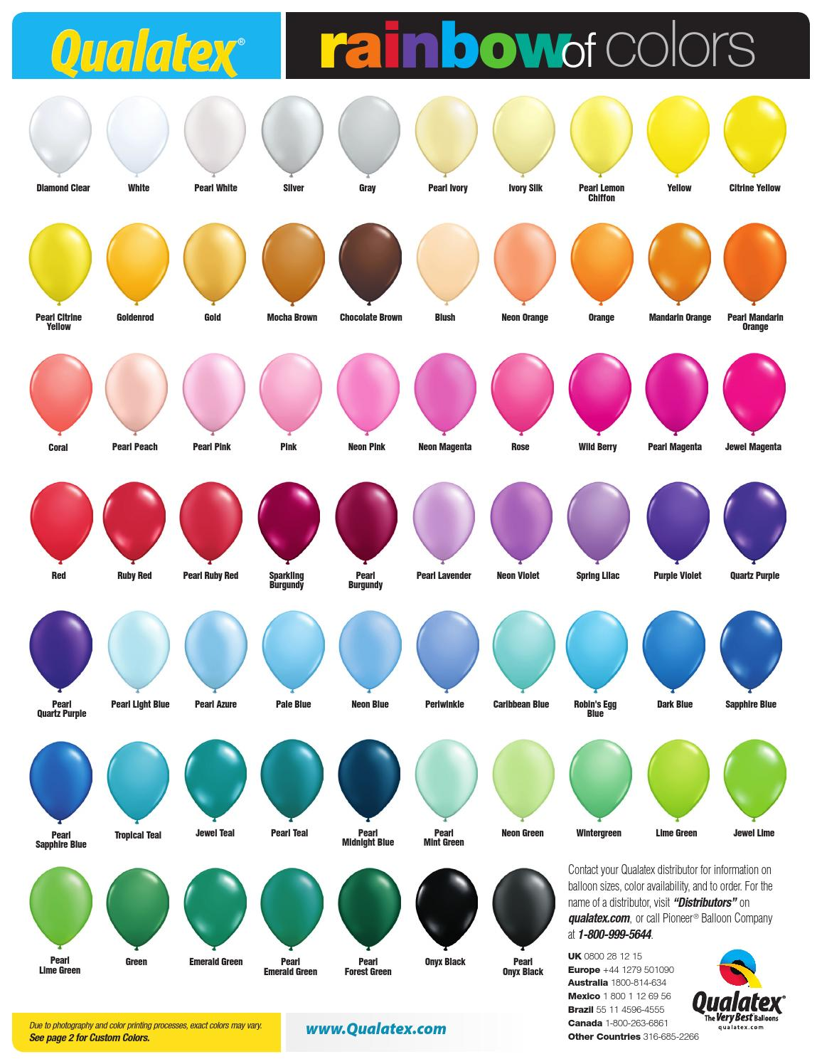 Us Rainbow Of Colors Chart 2015 By Pioneer Balloon Company