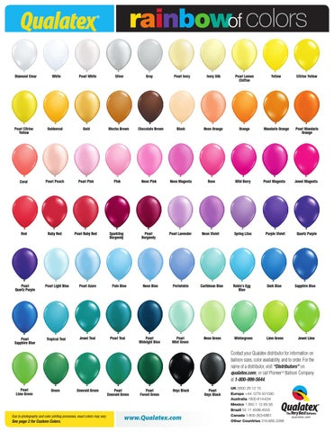 Us Rainbow Of Colors Chart 2015 By Pioneer Balloon Company Issuu