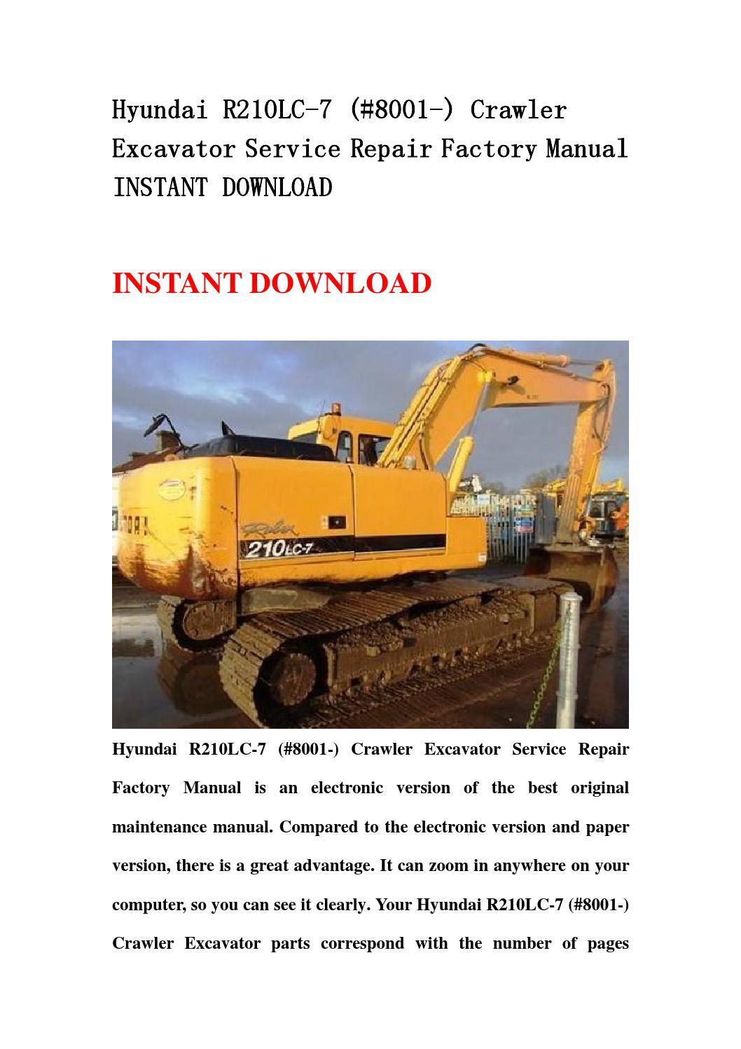 hyundai r210lc 7   8001   crawler excavator service repair