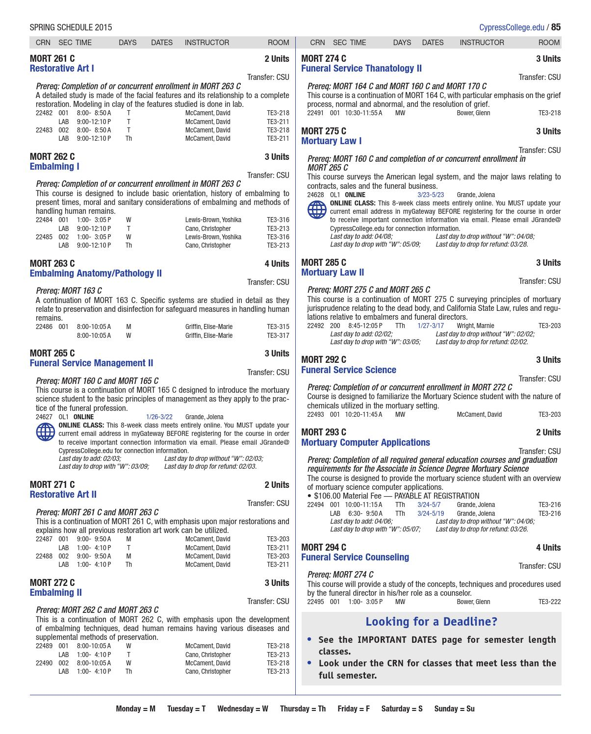Cypress College Spring 2015 Class Schedule by Cypress College - issuu