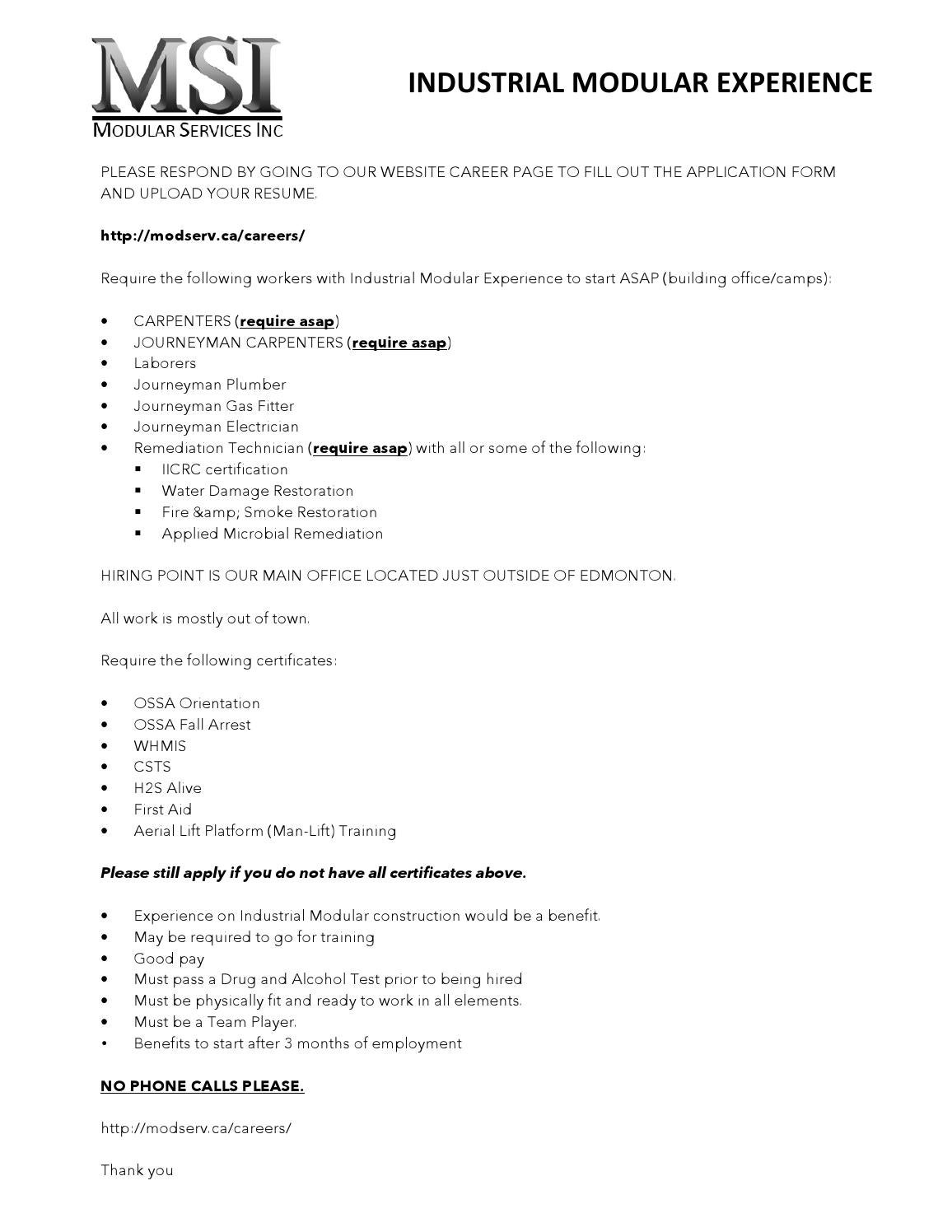 Workers Required Asap By Modular Services Inc Issuu