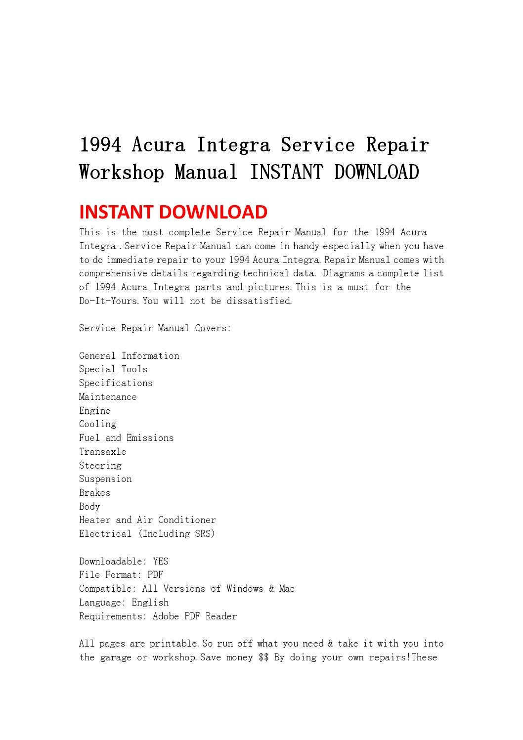 1994 Acura Integra Service Repair Workshop Manual Instant Download Wiring Diagram Pdf By Kmsjefhn Issuu