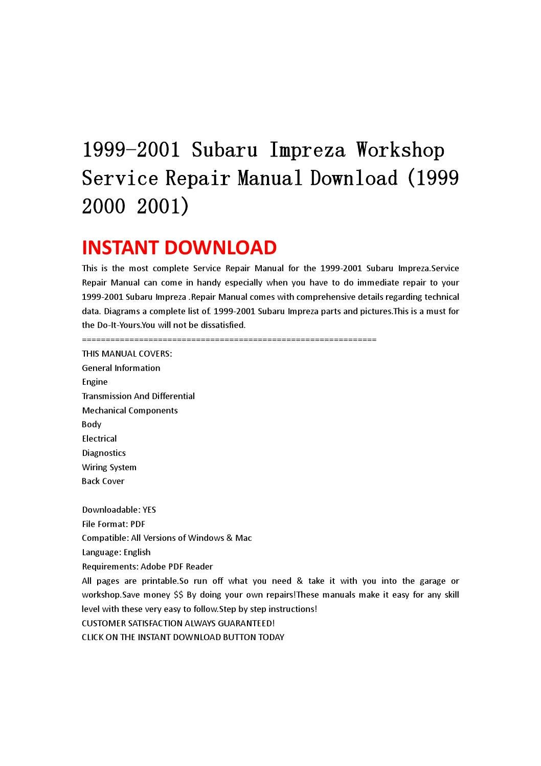 1999 2001 Subaru Impreza Workshop Service Repair Manual Download Parts Diagram 2000 By Kmsjefhn Issuu