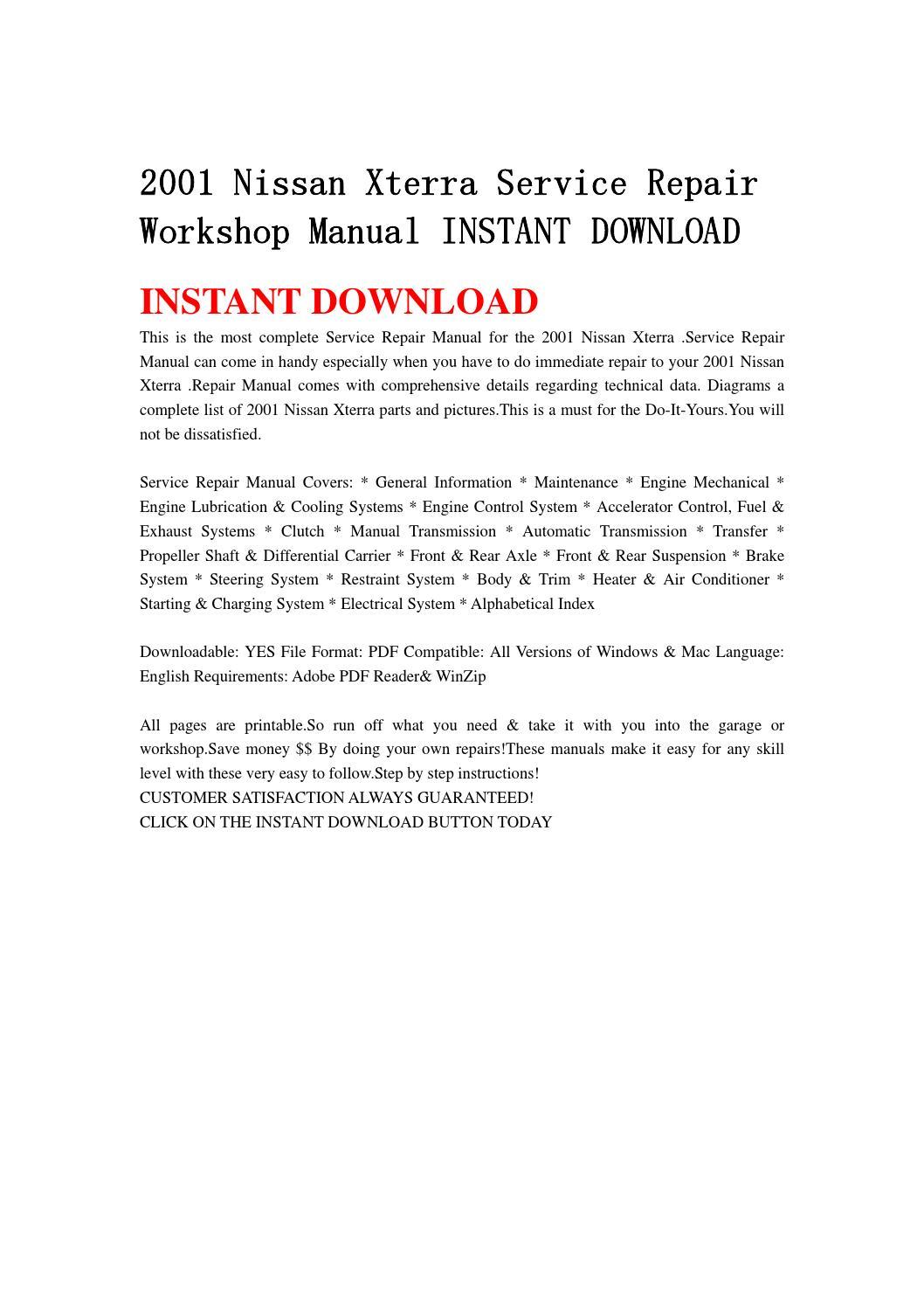 2001 nissan xterra service repair workshop manual instant download by  kmsjefhn - issuu