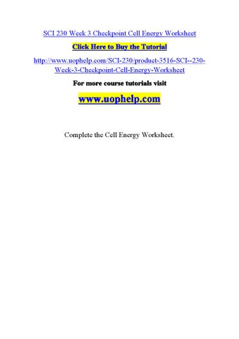 Sci 230 week 3 checkpoint cell energy worksheet by Iskenme ...